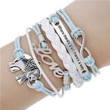 Fashion jewelry infinite double leather multilayer Charm bracelet for woman jewelry