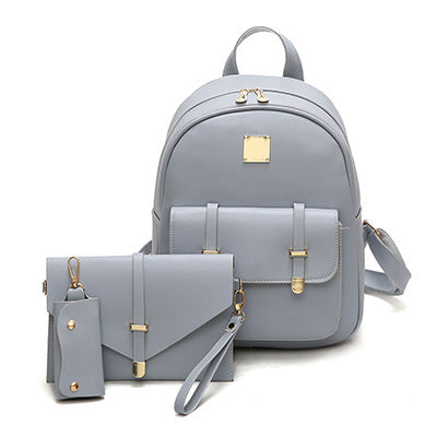 Fashion Composite Bag Pu Leather Backpack Women Cute 3 Sets Bag School Backpacks For Teenage Girls Black Bags Letter