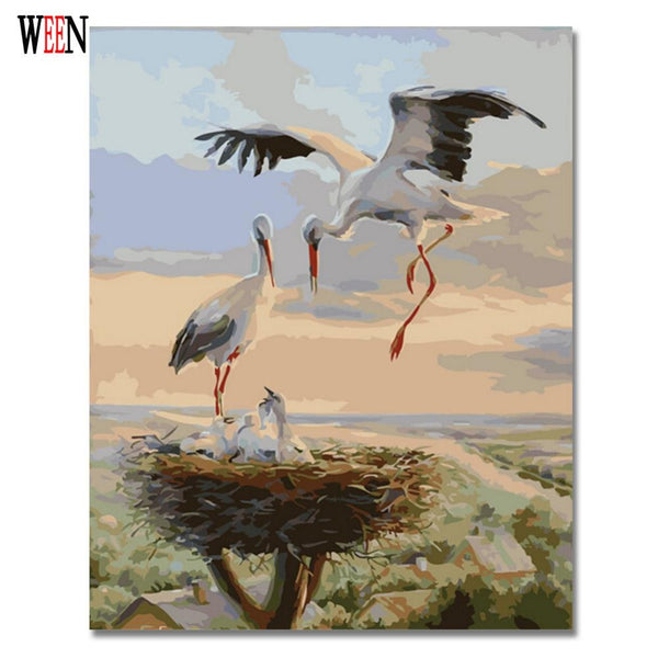 Crane Picture By Numbers Animal Oil Painting Coloring By Number On Canvas DIY Handpainted Wall Painting Unique Gift