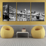 3 Piece Hot Sell Modern wall Painting New York Brooklyn bridge Home wedding Decorative Modular Picture Print on Canvas no framed