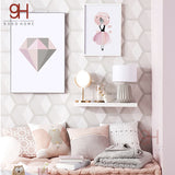 Pink Diamond Canvas Art Print Painting Poster, Watercolor Girls Wall Pictures For Home Decoration, Frame not included