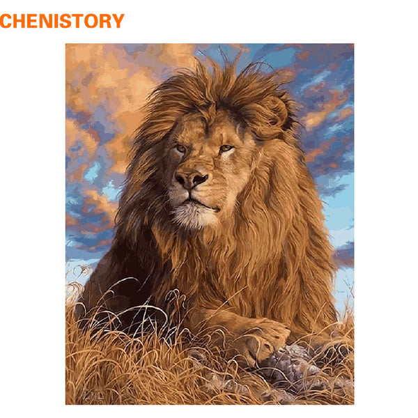 DIY Oil Painting By Numbers Kit Animals Lion Painting On Canvas Home Decoration Home Wall Art Picture Artwork 40x50cm