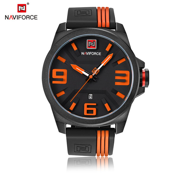 NAVIFORCE Brand Men Fashion Casual Sport Watches Men's 3D Face Quartz Date Clock Man Waterproof Watch