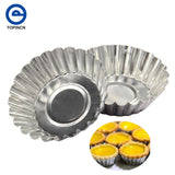 10 pcs/lot Flower Shape Egg Tart Mold Aluminum Metal 7 cm Cupcake Cake Cookie Mold Tin Baking Egg Tart Tools
