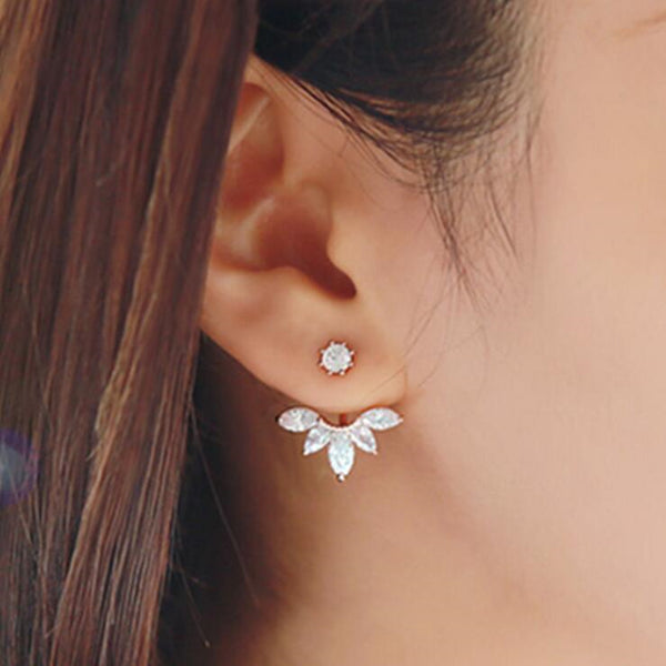 Zircon Crystal Ear Cuff Clip Leaf Stud Earrings For Women Jacket Piercing Earrings Fine Jewelry