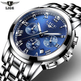 Fashion Luxury Brand LIGE Chronograph Men Sports Watches Waterproof Full Steel Casual Quartz Men's Watch