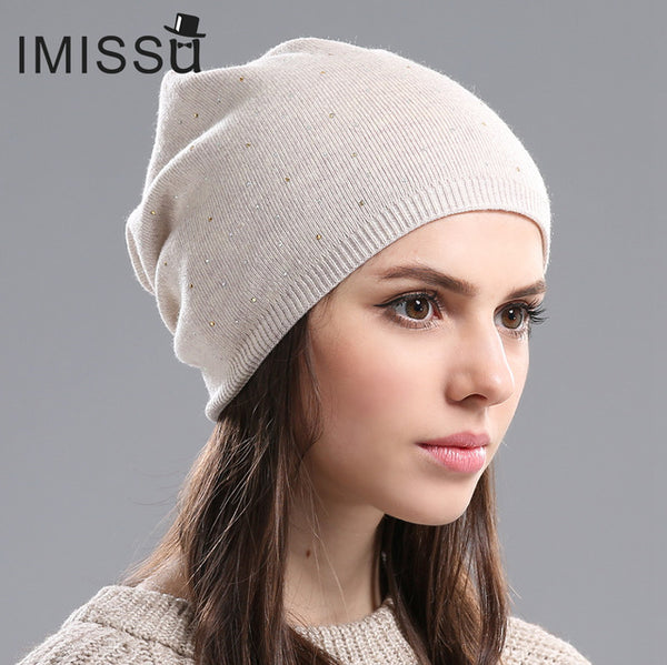 Women's Winter Hat Knitted Wool Beanie Female Fashion Skullies Casual Outdoor Mask Ski Caps Thick Warm Hats for Women