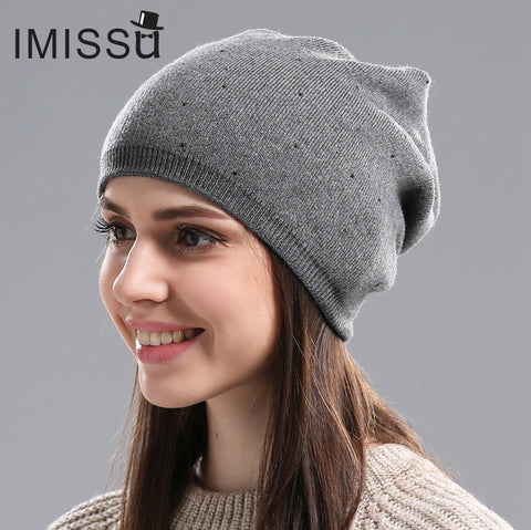6bcbd41aacb ... Women s Winter Hat Knitted Wool Beanie Female Fashion Skullies Casual  Outdoor Mask Ski Caps Thick Warm ...