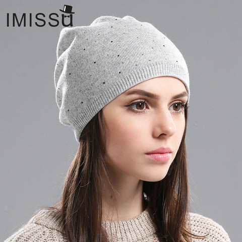 ab73b0c591e ... Women s Winter Hat Knitted Wool Beanie Female Fashion Skullies Casual  Outdoor Mask Ski Caps Thick Warm ...