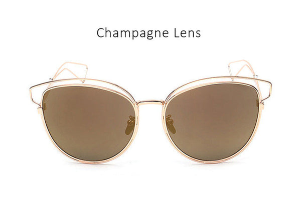 Luxury Brand Fashion Designer Metal Cat Eye Sunglasses Women Vintage Pink Mirror Sun Glasses Ladies Optical Eyewear