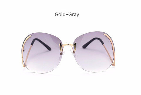 ... Rimless Gradient Fashion Sunglasses Women Oversized Clear Lens Optics  Metal Frame UV400 Vintage Sun Glasses Retro ... ed11c57ccb