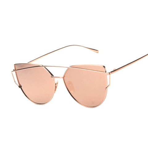 ee09ecd574 Cat eye Women Sunglasses Brand Design Mirror Flat Rose Gold Vintage Cateye  Fashion sun glasses lady ...