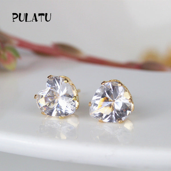9 Colors Heart Earring For Girls 8mm Crystal Stud Earrings Geometric Rhinestone Minimalist Women Jewelry
