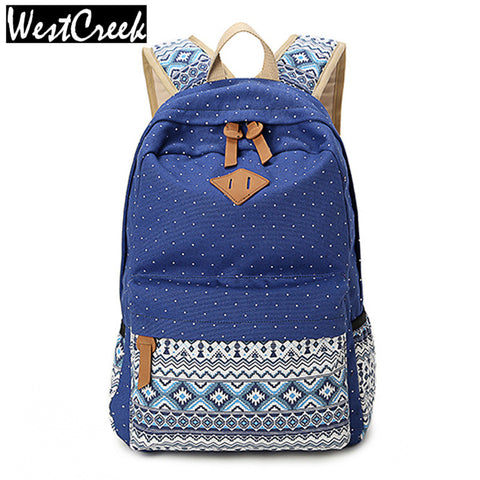 Vintage Style School Bags for Teenagers Girls Schoolbag Large Capacity Lady  Canvas Dot Printing Backpack Rucksack 106dc3859bcc4