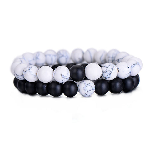 2Pcs/Set Couples Distance Bracelet Classic Natural Stone White and Black Yin Yang Beaded Bracelets for Men Women Best Friend