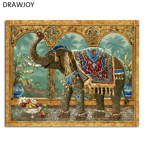 Framed Picture Painting By Numbers DIY Oil Painting On Canvas Home Decor Wall Art Abstract Elephant 40*50cm