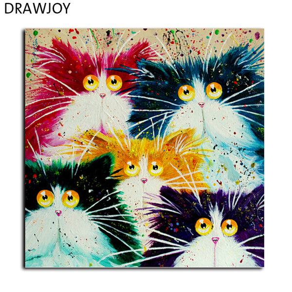 Framed Picture Painting By Numbers DIY Coloring By Numbers On Canvas Colorful Cats Home Decor 40*50cm Painting