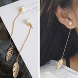 Simulated Pearls Long Tassel Dangle Earrings For Women Leaf Feather Drop Brincos Bijoux boucle d'oreille  Jewelry Earring