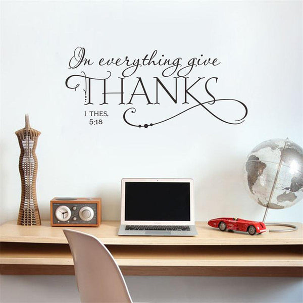 In everything give thanks bible quote wall decals classic christian wall stickers for kids rooms decor diy vinyl