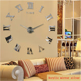 Diy wall clock home decor large roman mirror fashion modern Quartz clocks living room watch
