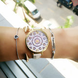 Luxury women watches Floral Pattern PU Leather Band Analog Quartz Wrist Watch