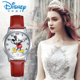 Disney Watch Mickey Mouse Women Watches Fashion Top Brand Wristwatch Casual Quartz Leather Strap Watches