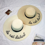 Summer Women Sombrero Ladies Wide Brim Straw Hats Panama Summer Sun Hat Letters Foldable Beach Cap Visor Chapeau