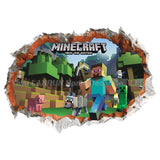 Minecraft Wall Stickers 3D Wallpapers Kids Room Decals Minecraft Steve Home Decoration Popular Games