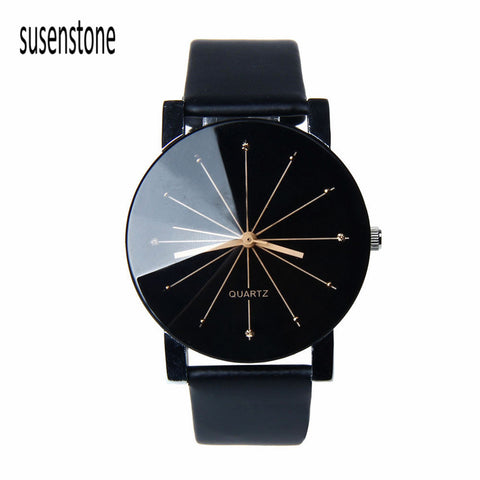 Black & White Men Quartz Watch Dial Glass Time Men Clock Leather Business Wristwatch Round Case Hour Watches