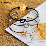 Original design very simple about pure copper casting love knot open metal bangle bracelet love bracelet