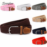 110cm Men fashion Canvas belts for Women Plain Webbing Metal Buckle Woven belt female Stretch Elasticity belts