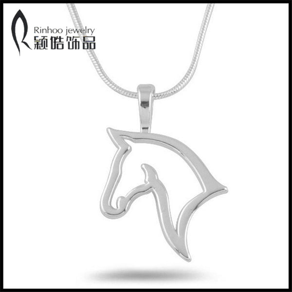 Fashion cute animal retro personality hollow out horse Metal Necklace Pendant For Women