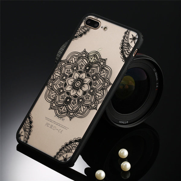 Sexy Lace Phone Case For iPhone 7 7 Plus 6 6s Plus 5s SE Floral Paisley Flower Mandala Henna Clear Case Hard PC Capa Back Cover
