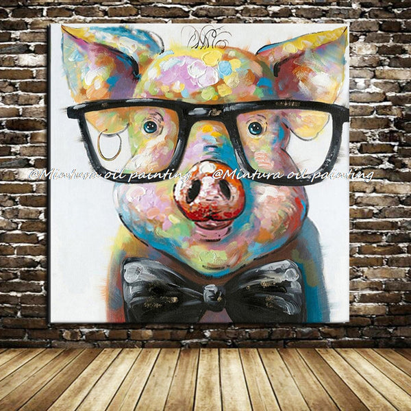 Hand Painted Modern Abstract Cartoon Animal Oil Painting On Canvas Pig Wearing Glassess Wall Art For Living Room Home Decor