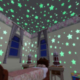 100PCS/Set 3Colors Glow Wall Stickers Decal Baby Kids Bedroom Home Decor Color Stars Luminous Fluorescent