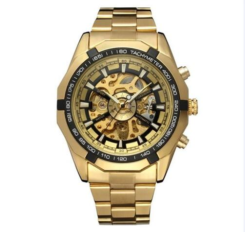 Winner Luxury Sport Designer Gold Skeleton Mechanical Watch Men Alloy Male Clock Wristwatches