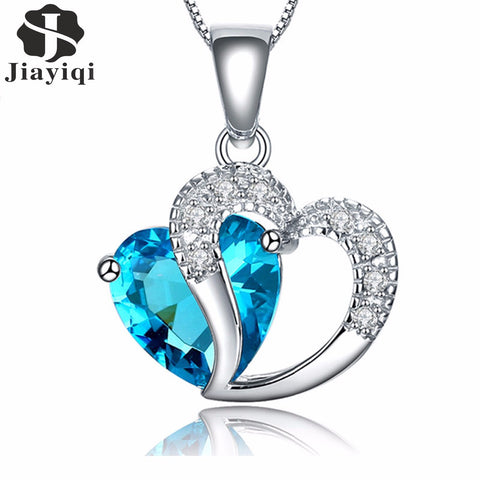 Zircon Crystal Silver color Jewelry Fashion Necklace For Women Best Friend Love Heart Long Chain Necklace Fine Jewelry