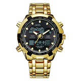Amuda Mens Sport Watch LED Gold Big Face Quartz-Watch Men Waterproof Wrist Watch Male Watches