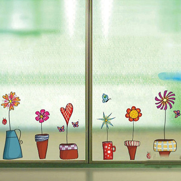 Cute Flower Wall Sticker Kitchen Window Sticker Butterfies Wall Stickers Home Decor Bathroom Vinyl Wall Decals Kids Rooms Decor