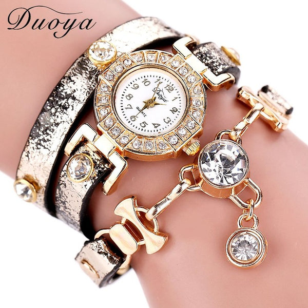 Duoya Women Watches Brand Gemstone Luxury Bracelet Watches Women Dress Fashion Long Chain Casual Wristwatch