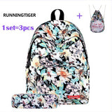 Women's Backpack Universe Space Unicorn Backpack With Drawstring Bag and Pencil Case 3pcs Sets High Quality