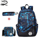 Waterproof oxford fabric boys school bags backpack for teenagers pencil case blue book bag boy one shoulder schoolbag