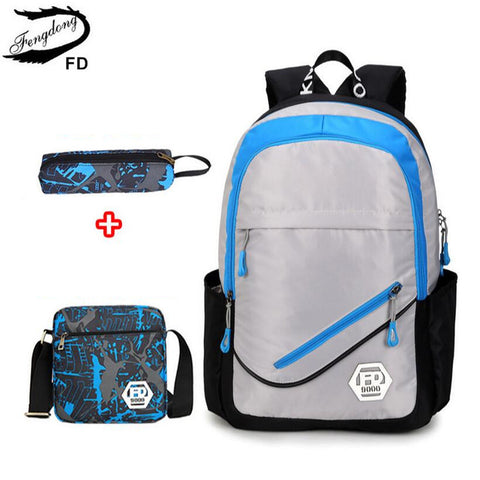 33a5577700ec ... Waterproof oxford fabric boys school bags backpack for teenagers pencil  case blue book bag boy one ...
