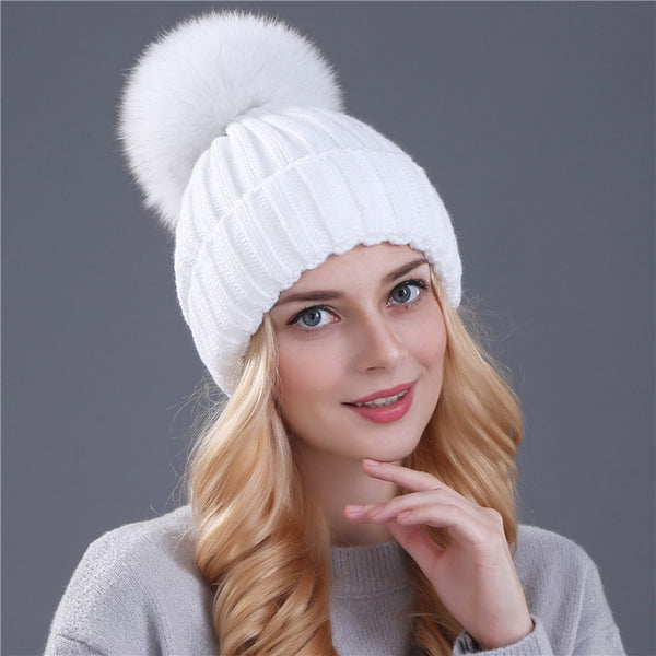 f71bc77cf Real fox fur pom poms ball Keep warm winter hat for women wool hat knitted  beanies cap thick female cap