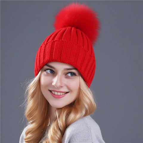 4f9fa9a43d1 ... Real fox fur pom poms ball Keep warm winter hat for women girl  s wool  ...