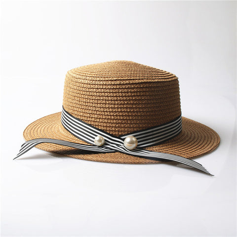 d2dc2674 ... Lady Boater sun caps Ribbon Round Flat Top Straw beach hat Panama Hat  summer hats for ...