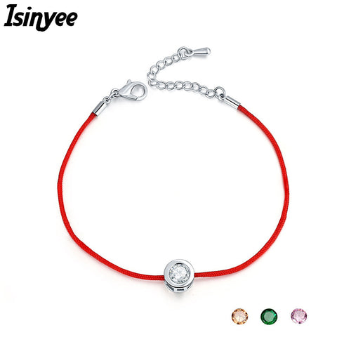 Fashion Red String Rope Bracelet Small Cublic Zirconia CZ Bracelets For Women Handmade Crystal Jewelry Lovers Couples