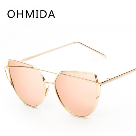 Fashion Cat Eye Sunglasses Women Brand Designer Twin-Beam Mirror Lens Sun Glasses Rose Gold Metal UV400