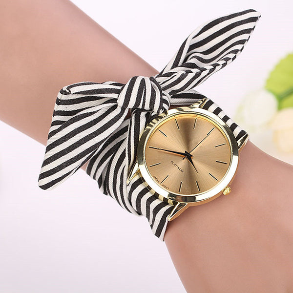 Women watches Stripe Floral Cloth Band Clock Dial Bracelet Quartz Wristwatch