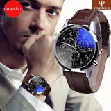 Splendid Luxury Fashion Faux Leather Men Blue Ray Glass Quartz Analog Watches Casual Cool Watch Brand Men Watches